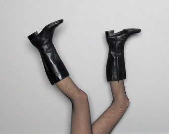 Black LEATHER Vintage QUALITY Knee-High BOOTS Womens Size 8