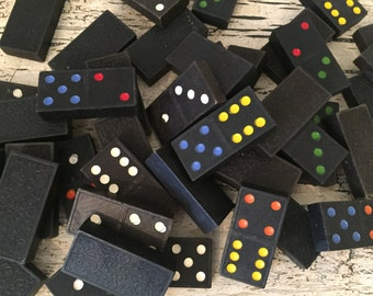 Collection of Vintage Dominoes - Multi Colored Dots