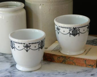 Pair of Vintage Syracuse Custard Cups. Hotel Dishes. Serving. Black and White. Ironstone. Home Decor.
