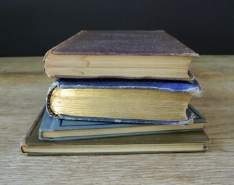 Little Antique Book Collection. Shades of Blue and Brown. French, Greek, Latin and Poetry Bundle. Victorian Library. Shabby. Cottage Decor.
