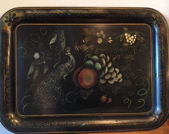 Vintage TV Tray Metal Peacock Floral Motif Repurpose Art