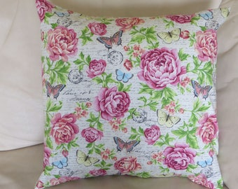 Pillow Cover with Large Flowers 16 x 16 inches with Pink flowers and Butterflies, Handmade pillow cover