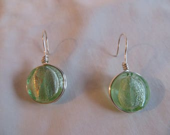 Green Wire Wrapped Disk Earrings,  Earrings, Green, Disk, Wire Wrapped, Dangle, Lime