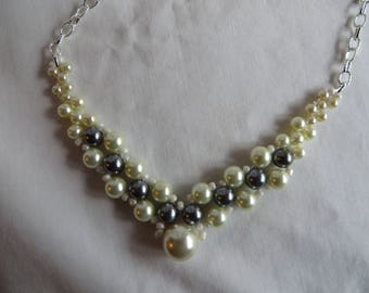 """19"""" Pearl Beaded Necklace -  Necklace, Pearls, Cream, Gray, Beadwork"""