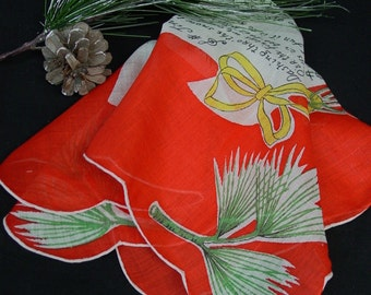 Vintage Hanky,Handkerchief, Christmas, Holiday Jingle Bell Lyrics , Unused with Label from Spain