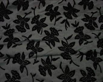 "Fabulous Fabric c.1960's Silk with Flocked Flowers, Blacks 3 Yards 45"" Wide"