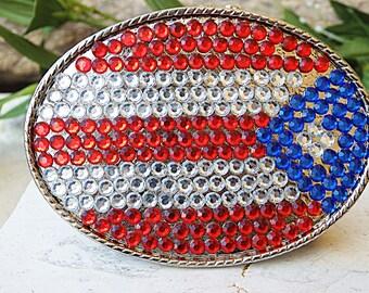 Buckle for belt, Oval belt buckle, Buckle, belt buckle, Colorful buckle, Rhinestone buckle, Swarovski buckle, American flag accessories