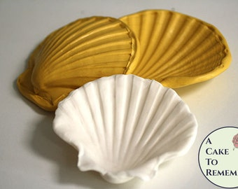 "4"" 3D clam shell silicone mold for cake decorating or polymer clay. Clam shell press, gumpaste shell mold, to make an open clam shell.  M40"