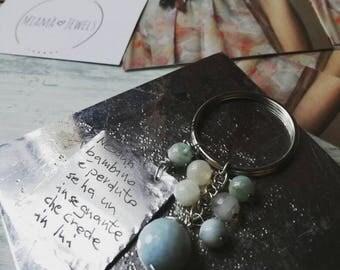 Handstamped keyring, bag accessory, dedicated gift