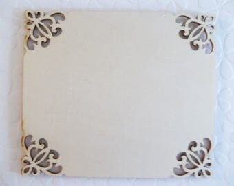 "Wood Plaque - Fancy Corners - 5"" X 6"" - DIY Home Decor - Wood Embellishment - Wood Wall Art - Wooden Shape"