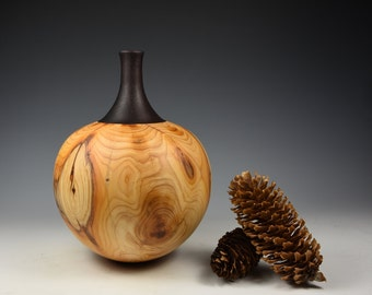 Yew & indian rosewood decorative hollow form/vessel