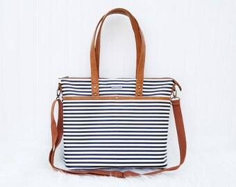 Faux leather Striped Handbag