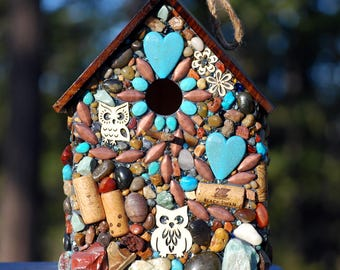 Large Outdoor Birdhouse, green mosaic, Turquoise and Owls for Wine Lovers, wine corks, Rustic birdhouse, Made in Oregon, birdhouse, garden