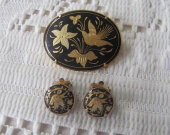 Vintage Damascene Bird Brooch & Earring Set