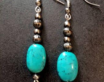 Navajo Pearls Turquoise Drop Earrings