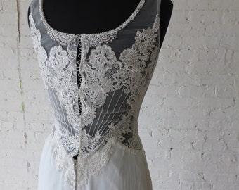 Wedding dress lace bead work sheer back bridal gown sheath backless dress