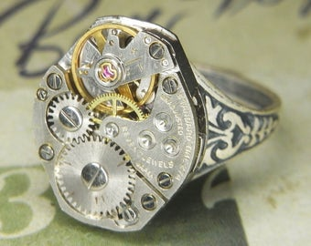 Women's Steampunk Ring - Vintage STANDARD TIME Watch Movement w Pin Striping - Torch SOLDERED - Birthday Anniversary Gift - Killer Style