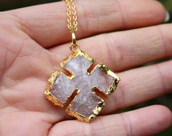 Rose Quartz Necklace - Cross Necklace - Gold Edged Pendant - 14K Gold Filled Necklace - Hand Knapped Natural Rose Quartz - Rough Gemstone