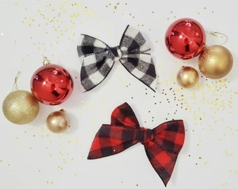 Buffalo Plaid Hair Clip Large Bow Red and Black or Cream and Black Holiday Clips