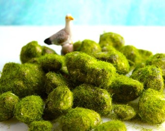 """Faux Moss Covered Rocks ~ Faux Rocks ~ 3x4"""" bag ~ For Miniature Gardens ~ Build-a-Terrarium ~ Approximately 15 pieces ~ Moss covered stones"""