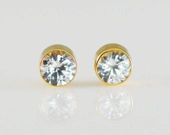 White Sapphire 14K Solid Yellow Gold Bezel Set Stud Earrings