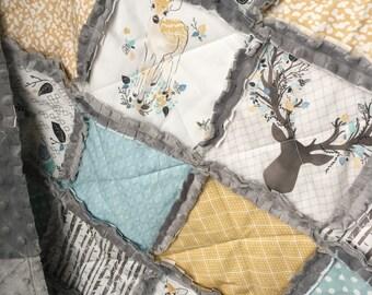 Baby Boy Minky Quilt Woodland Nursery Blue Gray Nursery