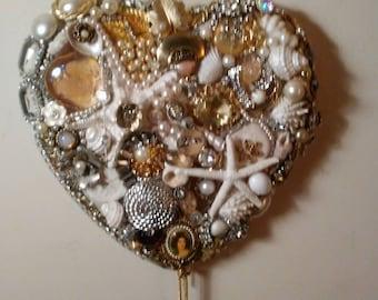 Seashell & Rhinestone Embellished Heart