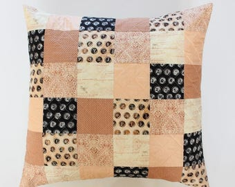 Peach Patchwork Throw Pillow, Blush Quilted Pillow Cover