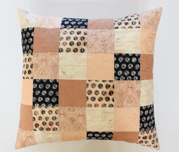 Quilted Blush Peach Patchwork Throw Pillow