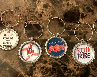 Cleveland Indians inspired wine glass charms for the wine lover in your life....Set of 6