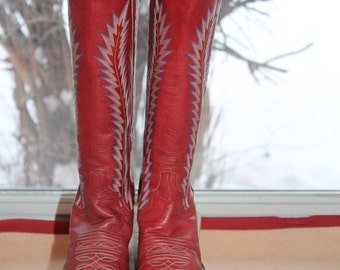 Vtg. RED Leather Larry Mahan cowboy cowgirl boots womens size 7 - 7 1/2