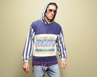 vintage 90s hooded long sleeve t-shirt hoodie Bonjour Team Sport stripe hooded shirt 1990 street style M/L