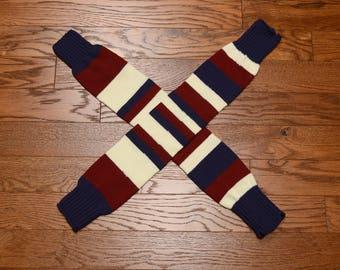 vintage 70s 80s leg warmers stripe socks striped thigh high roller derby 1970 1980 red white blue stripe leg wamer