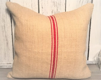 22x22 Authentic Red Stripe Grain Sack