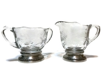 Sheffield Silver Co. cut crystal glass and sterling silver footed cream and open sugar bowl, holiday table