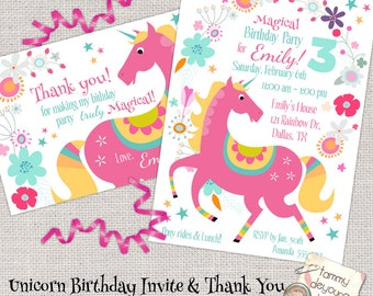 Unicorn Birthday Party Invitation, Girls Birthday Party Evite, Printable invite for kids, Magical Unicorn party Thank You note, pink pony