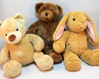 Build a Bear lot of 3 2 Teddy Bears and 1 Hoppy Bunny Rabbit