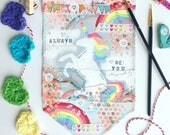 Canvas banner ~ Always be you unicorn rainbow ~ canvas art wall hanging decor