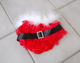 Santa Baby Lace Ruffled Bloomers with matching headband
