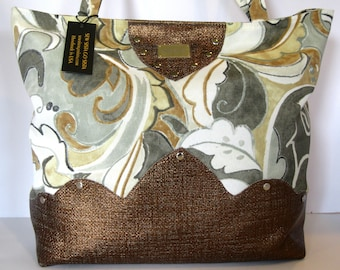bronze grey tote bag