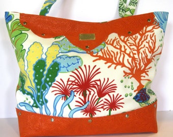 Orange coral tote bag