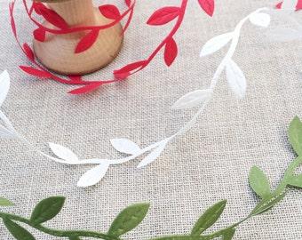 Leaf ribbon. Cut Out Leaf Trim in Red, Green or Ivory