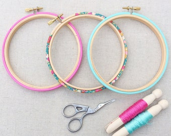 Liberty of London, Hand Embroidery, Hoop Art Frame Set. Available in five sizes. Wiltshire in teal and pink, Tana Lawn fabric. Hoop-La frame