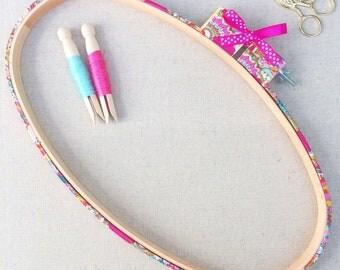 Large Decorative Embroidery hoop Frame. Nursery Textiles.  Liberty, 'Garden of Dreams' Art Print Fabric