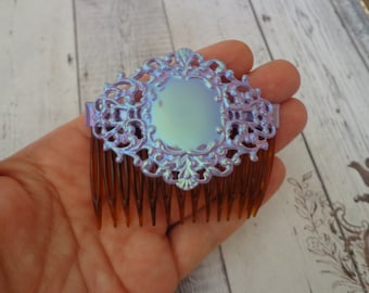 Vintage New Old Stock Hair Comb w/ Purple Enamel Filigree Decoration