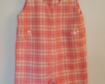 Vintage Pink Plaid Overalls, 12 Months