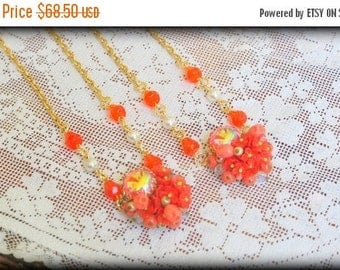 SPRING SALE 2 Vintage Couture OOAK Bright Orange Bridal Bridesmaid Set Wedding Necklace Vtg Cluster Earrings