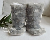 Baby Boots. Booties. Grey Minky Fur Slippers. Fast Shipping!
