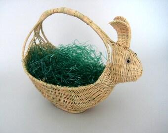 Easter Basket, Vintage Woven Basket, Rabbit Basket, Bunny Basket, Easter Bunny Basket