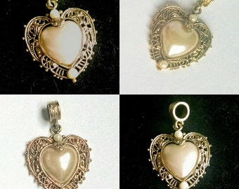 Heart Pendant Filigree Glass Pearl Gold Tone Vintage Jewelry Jewellery Accessory Gift Guide Women Art Nouveau Renaissance